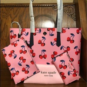 Kate Spade-Molly Cherries Lg Tote w/Pouch & Wallet
